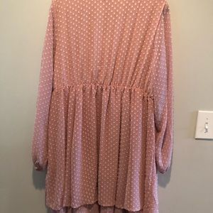 torrid Dresses - TORRID BLUSH TEXTURED CHIFFON SURPLICE SKATERDRESS